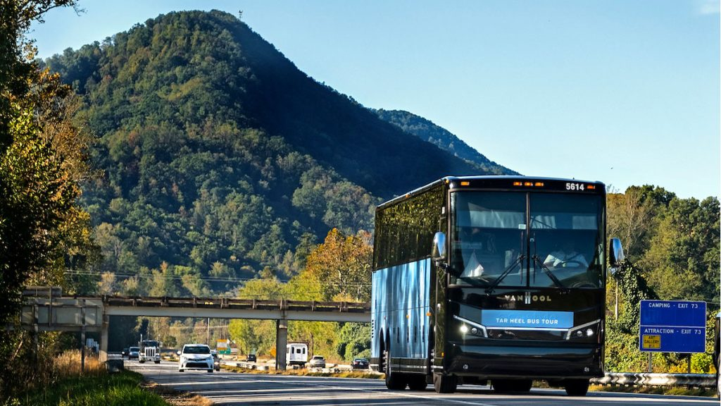 The Tar Heel Bus tour travels across the state.