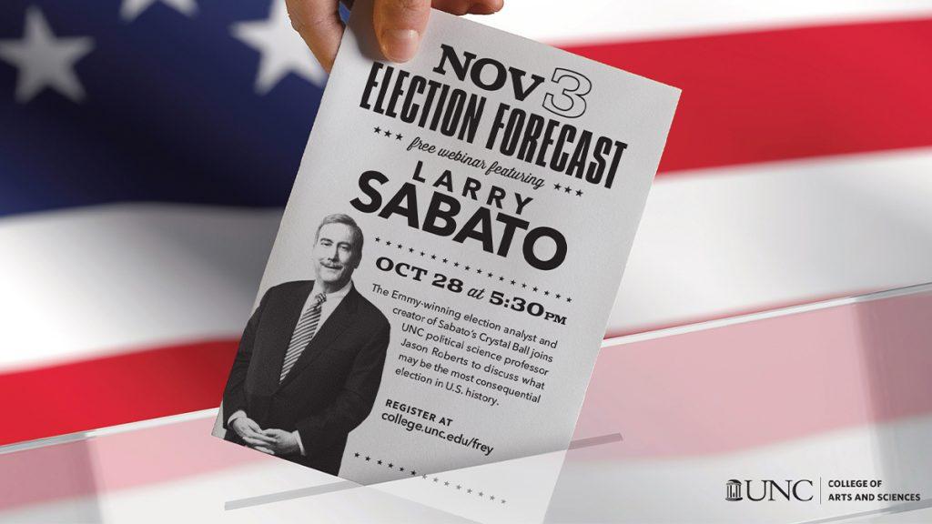 flyer for speaker Larry Sabato