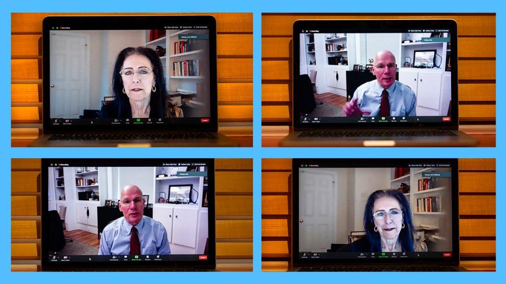 Bob Blouin and Lynn Williford on laptop screens