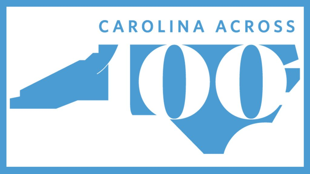 Graphic of NC with Carolina Across 100